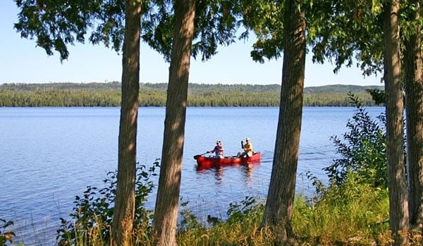 Couple in red canoe
